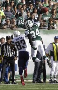 New York Jets' Darrelle Revis (24) breaks up a pass intended for San Diego Chargers' Vincent Jackson during the third quarter of an NFL football game, Sunday, Oct. 23, 2011, in East Rutherford, N.J. (AP Photo/Kathy Willens)