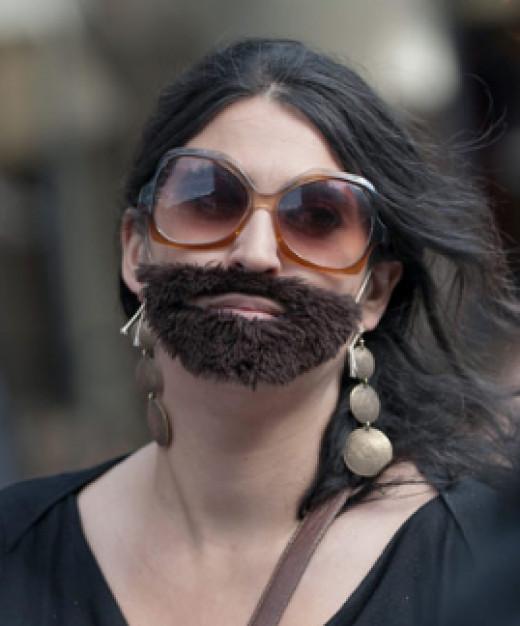 women grow beard hair