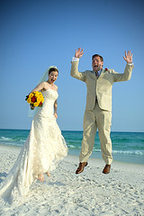 Bride and Groom Literally Jumping for Joy