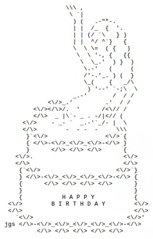 Simple One Line Ascii Art : Happy birthday ascii text art hubpages