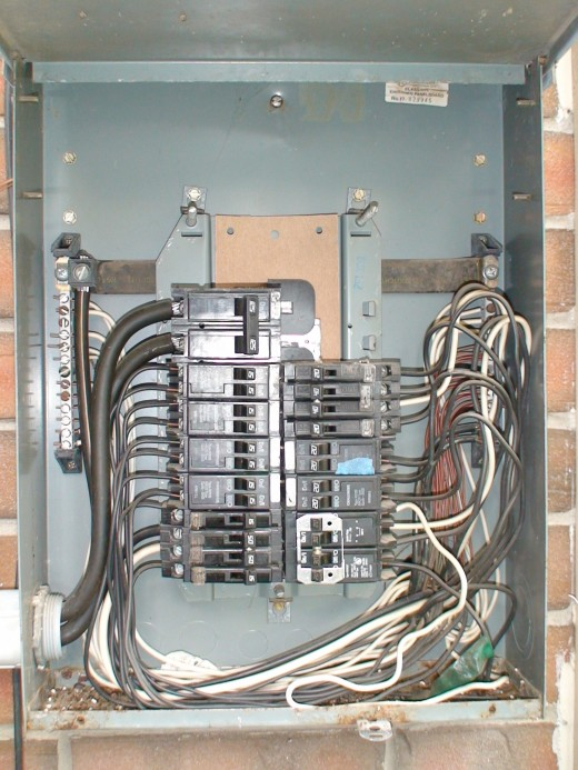 Electricity comes into the house through the electric meter and into the circuit breaker panel, where separate  wires connect to the individual circuit breakers.