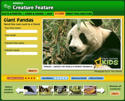 The National Geographic Web Site offers lots of point and click fun for young animal lovers.