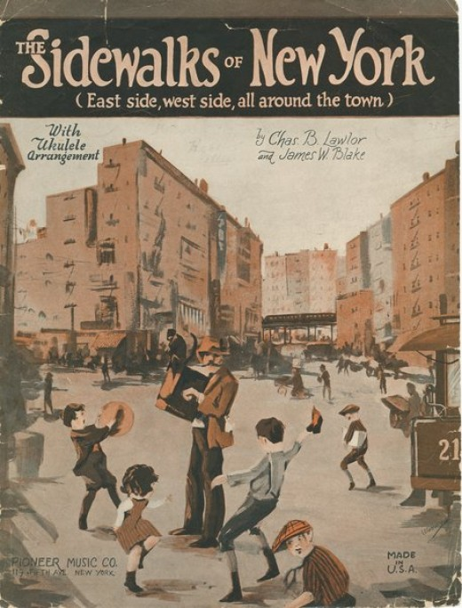 "1914 Image Cover from sheet music of ""The Sidewalks of New York"", by Charles B. Lawlor and James W. Blake. New"