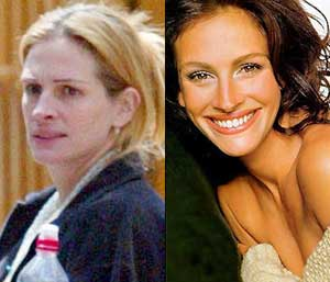 Julia Roberts doesn't makeup as much as she did before she became a mommy