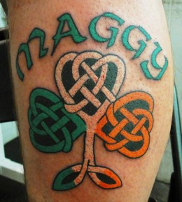 Multicolored Celtic Shamrock Tattoo in Trinity Knot