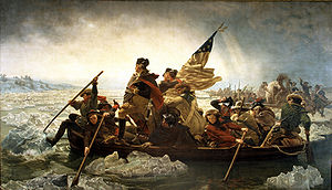 Much like cherry tree story, this painting of Washington crossing the Delaware by Emanuel Leutze (1851) is also a historical embellishment. Washington crossed in the dead of night, and most assuredly did not stand in the overcrowded boat.