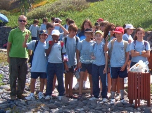 Some of the British School Tenerife pupils with Richard one of their teachers