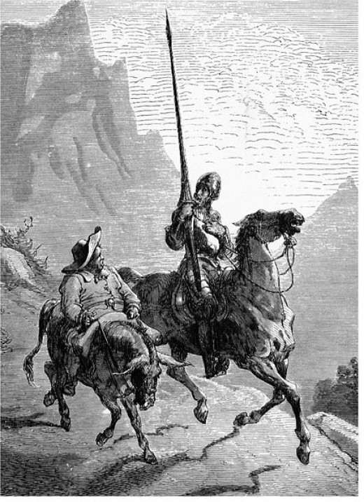Characters from the famous Spanish novel, Don Quijote, by Miguel Cervantes. Don Quijote is way more fun to read in Spanish!