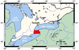 Map location of the Niagara Region, Ontario