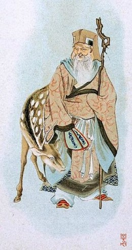 Jurojin with deer