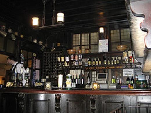 The wonderfully gloomy interior of Ye Olde Cheshire Cheese