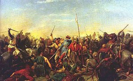 A modern painting shows 'Hardradi' with an arrow in his throat. Without his long mailcoat (taken to his ship at Riccall after Jorvik fell), and with his size he was an easy target for an expert bowman