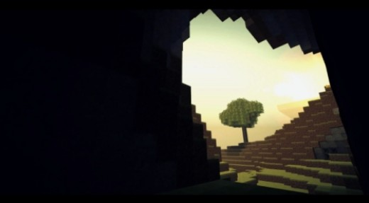 A tree seen from a cave in Minecraft.