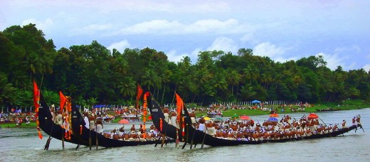 The annual Snake Boat Race on the river Pampa in the Kerala Backwaters