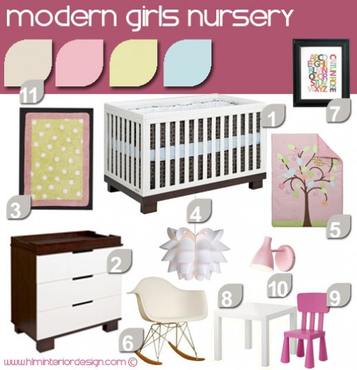 This is my interior design concept for a modern girls nursery will low price tag.