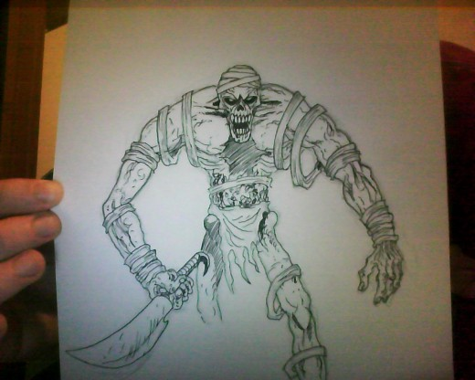 A Mummy Ink pen drawing Art Copyright Wayne Tully 2011.