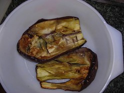 Eggplant or Aubergine slice in half and sprinkled with salt
