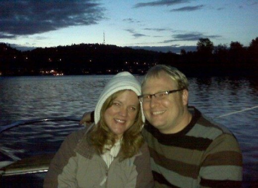 my wife and I, sailing on the river