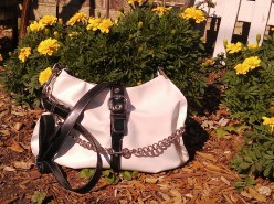 Vegan Spectator Tote in faux white leather with faux leather straps and chains