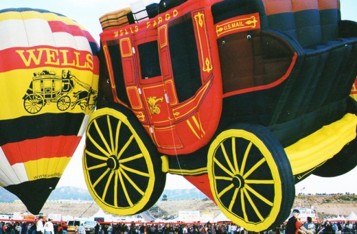 Wells Fargo Bank had two stagecoach balloons at the Albuquerque, New Mexico balloon festival.