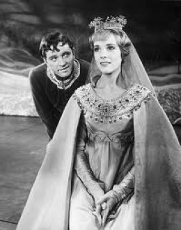 Julie Andrews and Richard Burton in the roles of Guenevere and Arthur in the Broadway original cast.