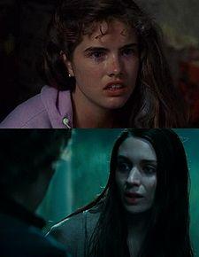 Heather Langerkamp (top) and  Rooney Mara (bottom) as Nancy Thompson