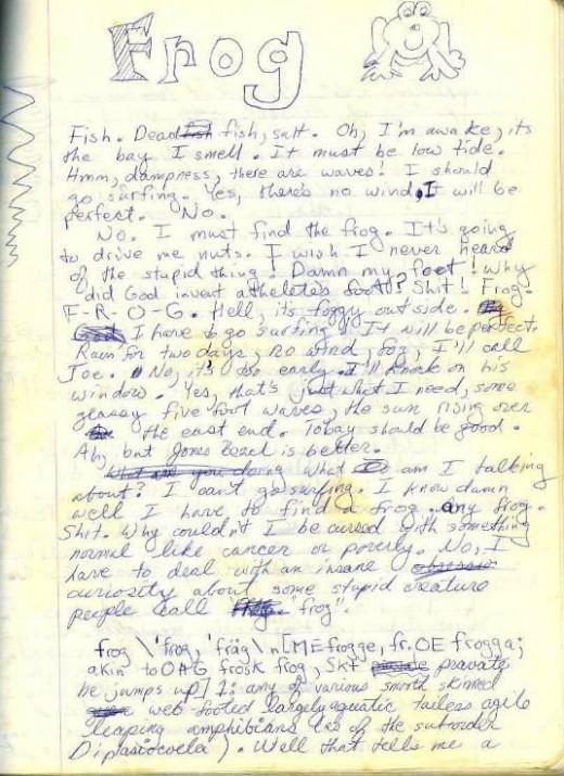 page 1 original manuscript of Frog