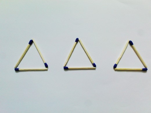 So what problem could be there to make 3 triangles out of 9 matchsticks!