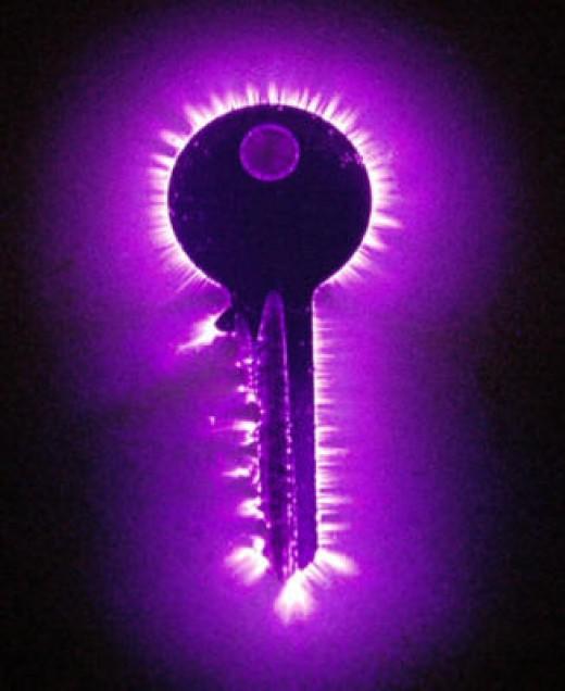 Kirilan photograph of an energy aura of a key