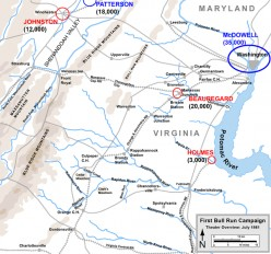 The location of Union and Confederate forces at the beginning of the Civil War.