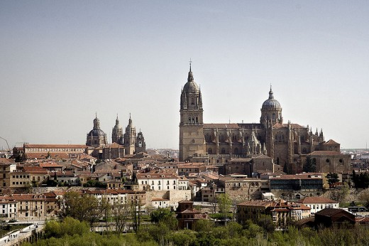 Salamanca, Spain with the university on the left and the cathedral on the right.