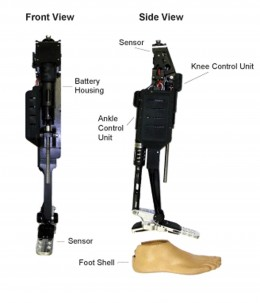 Front and side views of the Vanderbilt powered knee and ankle prosthesis. Goldfarb Leg (Michael Goldfarb, team leader).