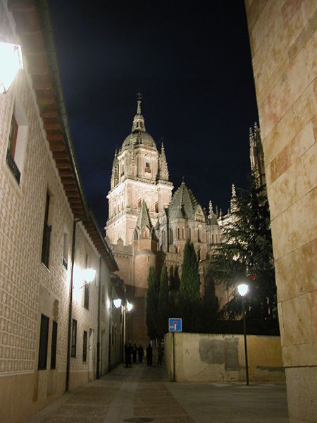 Street in the old city of Salamanca, Spain.  The new cathedral is in the background.