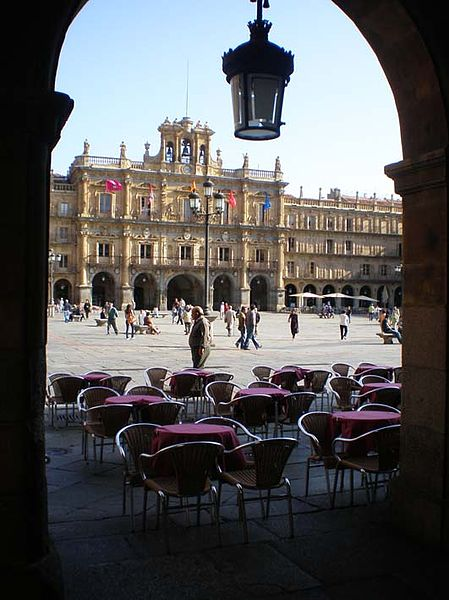 La Plaza Mayor, the main square, of Salamanca, Spain.  Its baroque architecture and design is said by the Spanish to be the most beautiful in all of Spain.
