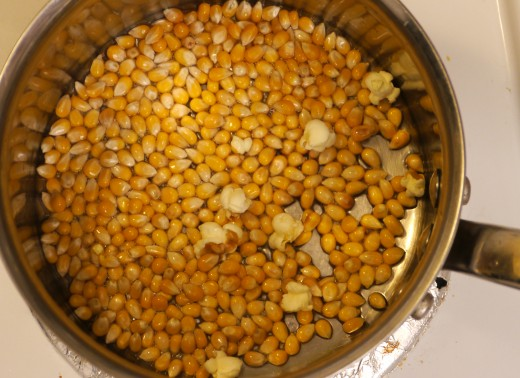 fill the bottom of the pot with oil & a layer of popcorn kernels