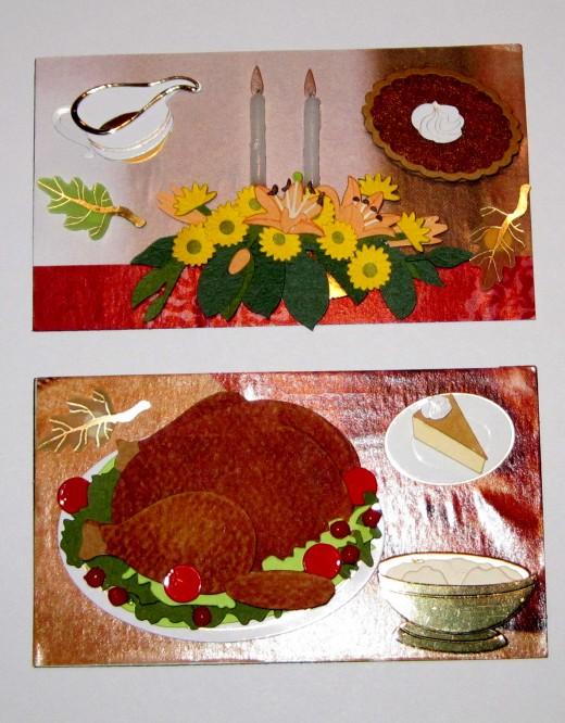Floral center piece, turkey and pumpkin pie.