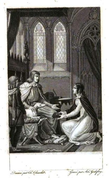 Marie de France presents her book to Henry II of England.  Source: Charles Chasselat (1782 - 1843) 1820, Public Domain via Wikimedia Commons