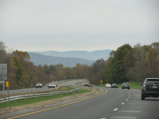 Mountains on the horizon - NYS Thruway