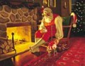 SANTA SLEEPING AFTER ANOTHER YEARLY MISSION TO COVER THE WORLD TO BRING GIFTS TO CHILDREN AND ADULTS OF ALL AGES.