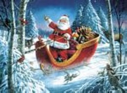 WHAT AN IDEAL, PICTURESQUE SCENE. SANTA, HIS SLEIGH, SNOW AND GREENERY. ALL THE INGREDIENTS TO MAKE A GREAT CHRISTMAS.