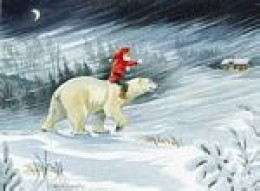RIDING A POLAR BEAR? YES. SANTA PROBABLY HELPED TO BRING THIS POLAR BEAR INTO THE WORLD WHEN HE OR SHE WAS BORN.
