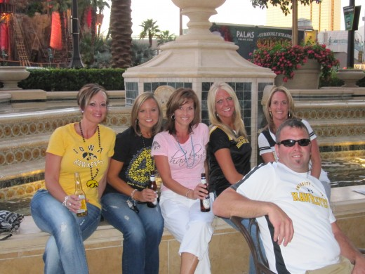 A party of Iowa fans on the patio at Lagasse's Stadium.