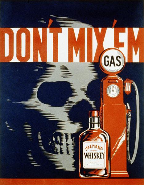 Don't mix em - vintage drunk driver poster