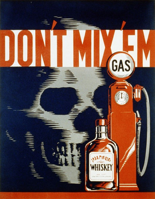 Don't mix em - vintage drunk driver poster