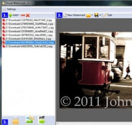 Copyright images with digital photo watermarking software
