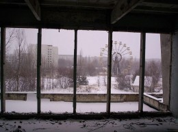 Pripyat Ferris Wheel as seen from the City Centre Gymansium