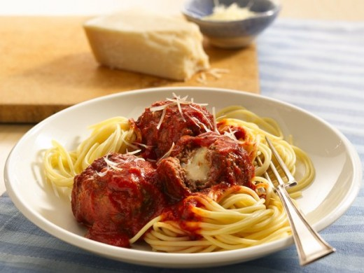 Cheese-Stuffed Meatballs and Spaghetti A new twist on an old favorite! Mozzarella tucked inside each meatball creates a forkful of flavor. Kids of all ages will dig in!