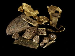 Gold and silver ornament - believed to have been buried by the Mercians under pursuit by avenging Northumbrians after the defeat of Penda at Winwaed (near Leeds)