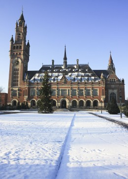 Front view of the Peace Palace in winter, The Hague