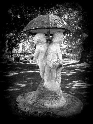 Black and White and Holga-ish special effect on the water fountain at Shinn Park in Fremont California